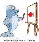 Vector Illustration of a Cartoon Porpoise Dolphin School Mascot Painting a Fish by Toons4Biz