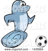 Vector Illustration of a Cartoon Porpoise Dolphin School Mascot Playing Soccer by Toons4Biz