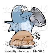 Vector Illustration of a Cartoon Porpoise Dolphin School Mascot Serving a Roasted Turkey by Toons4Biz