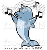 Vector Illustration of a Cartoon Porpoise Dolphin School Mascot Singing by Toons4Biz