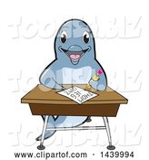 Vector Illustration of a Cartoon Porpoise Dolphin School Mascot Student Taking a Quiz at a Desk by Toons4Biz