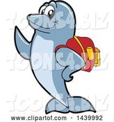 Vector Illustration of a Cartoon Porpoise Dolphin School Mascot Student Wearing a Backpack by Toons4Biz
