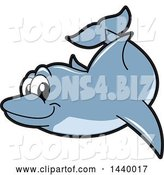 Vector Illustration of a Cartoon Porpoise Dolphin School Mascot Swimming by Toons4Biz