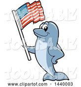Vector Illustration of a Cartoon Porpoise Dolphin School Mascot Waving an American Flag by Toons4Biz