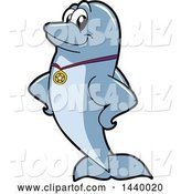 Vector Illustration of a Cartoon Porpoise Dolphin School Mascot Wearing a Sports Medal by Toons4Biz