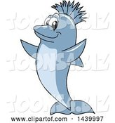 Vector Illustration of a Cartoon Porpoise Dolphin School Mascot with a Mohawk by Toons4Biz