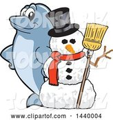 Vector Illustration of a Cartoon Porpoise Dolphin School Mascot with a Snowman by Toons4Biz
