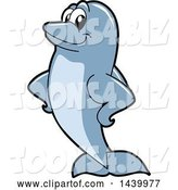 Vector Illustration of a Cartoon Porpoise Dolphin School Mascot with Fins on His Hips by Toons4Biz