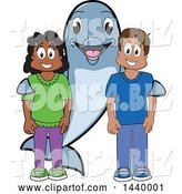 Vector Illustration of a Cartoon Porpoise Dolphin School Mascot with Happy Students by Toons4Biz