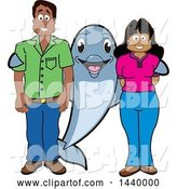Vector Illustration of a Cartoon Porpoise Dolphin School Mascot with Teachers or Parents by Toons4Biz