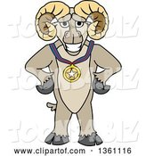 Vector Illustration of a Cartoon Ram Mascot Champion Posing with a Sports Medal by Toons4Biz
