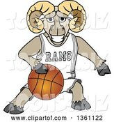 Vector Illustration of a Cartoon Ram Mascot Dribbling a Basketball by Toons4Biz