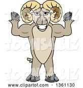 Vector Illustration of a Cartoon Ram Mascot Flexing His Muscles by Toons4Biz