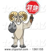 Vector Illustration of a Cartoon Ram Mascot Gesturing and Holding a Stop Sign by Toons4Biz