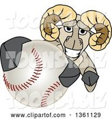 Vector Illustration of a Cartoon Ram Mascot Grabbing a Baseball by Toons4Biz