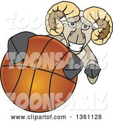 Vector Illustration of a Cartoon Ram Mascot Grabbing a Basketball by Toons4Biz