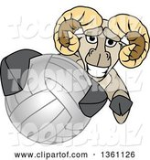 Vector Illustration of a Cartoon Ram Mascot Grabbing a Volleyball by Toons4Biz