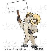 Vector Illustration of a Cartoon Ram Mascot Holding a Blank Sign by Toons4Biz