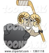 Vector Illustration of a Cartoon Ram Mascot Holding a Stick and Grabbing a Hockey Puck by Toons4Biz