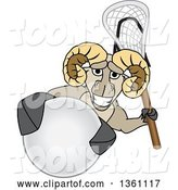 Vector Illustration of a Cartoon Ram Mascot Holding a Stick and Grabbing a Lacrosse Ball by Toons4Biz