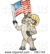 Vector Illustration of a Cartoon Ram Mascot Holding an American Flag by Toons4Biz
