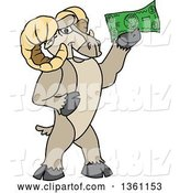 Vector Illustration of a Cartoon Ram Mascot Holding Cash Money by Toons4Biz