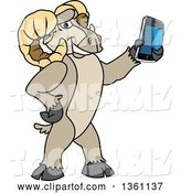 Vector Illustration of a Cartoon Ram Mascot Holding out a Smart Phone by Toons4Biz