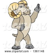 Vector Illustration of a Cartoon Ram Mascot Holding up a Finger by Toons4Biz