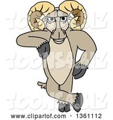 Vector Illustration of a Cartoon Ram Mascot Leaning by Toons4Biz
