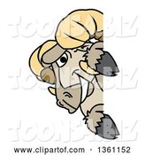 Vector Illustration of a Cartoon Ram Mascot Looking Around a Sign by Toons4Biz