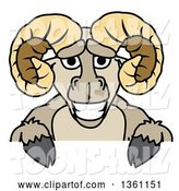Vector Illustration of a Cartoon Ram Mascot over a Sign by Toons4Biz