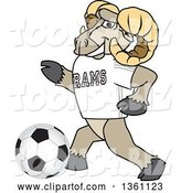 Vector Illustration of a Cartoon Ram Mascot Playing Soccer by Toons4Biz
