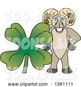 Vector Illustration of a Cartoon Ram Mascot Posing with a St Patricks Day Four Leaf Clover by Toons4Biz