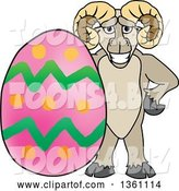 Vector Illustration of a Cartoon Ram Mascot Posing with an Easter Egg by Toons4Biz