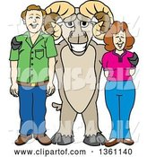 Vector Illustration of a Cartoon Ram Mascot Posing with Parents by Toons4Biz