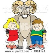 Vector Illustration of a Cartoon Ram Mascot Posing with Students by Toons4Biz