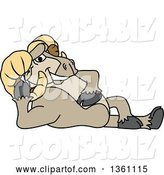 Vector Illustration of a Cartoon Ram Mascot Resting by Toons4Biz