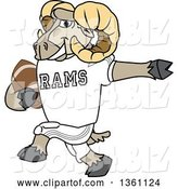 Vector Illustration of a Cartoon Ram Mascot Running with an American Football by Toons4Biz