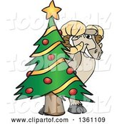 Vector Illustration of a Cartoon Ram Mascot Smiling Around a Christmas Tree by Toons4Biz