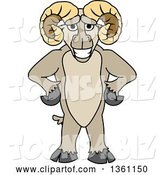 Vector Illustration of a Cartoon Ram Mascot Standing Upright with Hands on His Hips by Toons4Biz