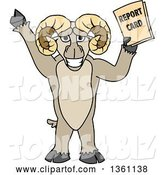 Vector Illustration of a Cartoon Ram Mascot Student Holding a Report Card by Toons4Biz
