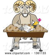 Vector Illustration of a Cartoon Ram Mascot Student Taking a Quiz at a Desk by Toons4Biz