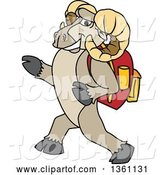 Vector Illustration of a Cartoon Ram Mascot Student Walking with a Backpack by Toons4Biz