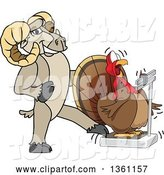 Vector Illustration of a Cartoon Ram Mascot Tricking a Turkey Standing on a Scale by Toons4Biz