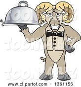 Vector Illustration of a Cartoon Ram Mascot Waiter Holding a Cloche Platter by Toons4Biz