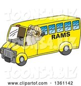 Vector Illustration of a Cartoon Ram Mascot Waving and Driving a Bus by Toons4Biz