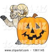 Vector Illustration of a Cartoon Ram Mascot Waving by a Jackolantern by Toons4Biz