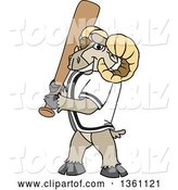 Vector Illustration of a Cartoon Ram Mascot with a Baseball Bat by Toons4Biz