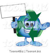Vector Illustration of a Cartoon Recycle Mascot Holding a Blank Sign by Toons4Biz