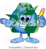Vector Illustration of a Cartoon Recycle Mascot Holding a Pencil by Toons4Biz